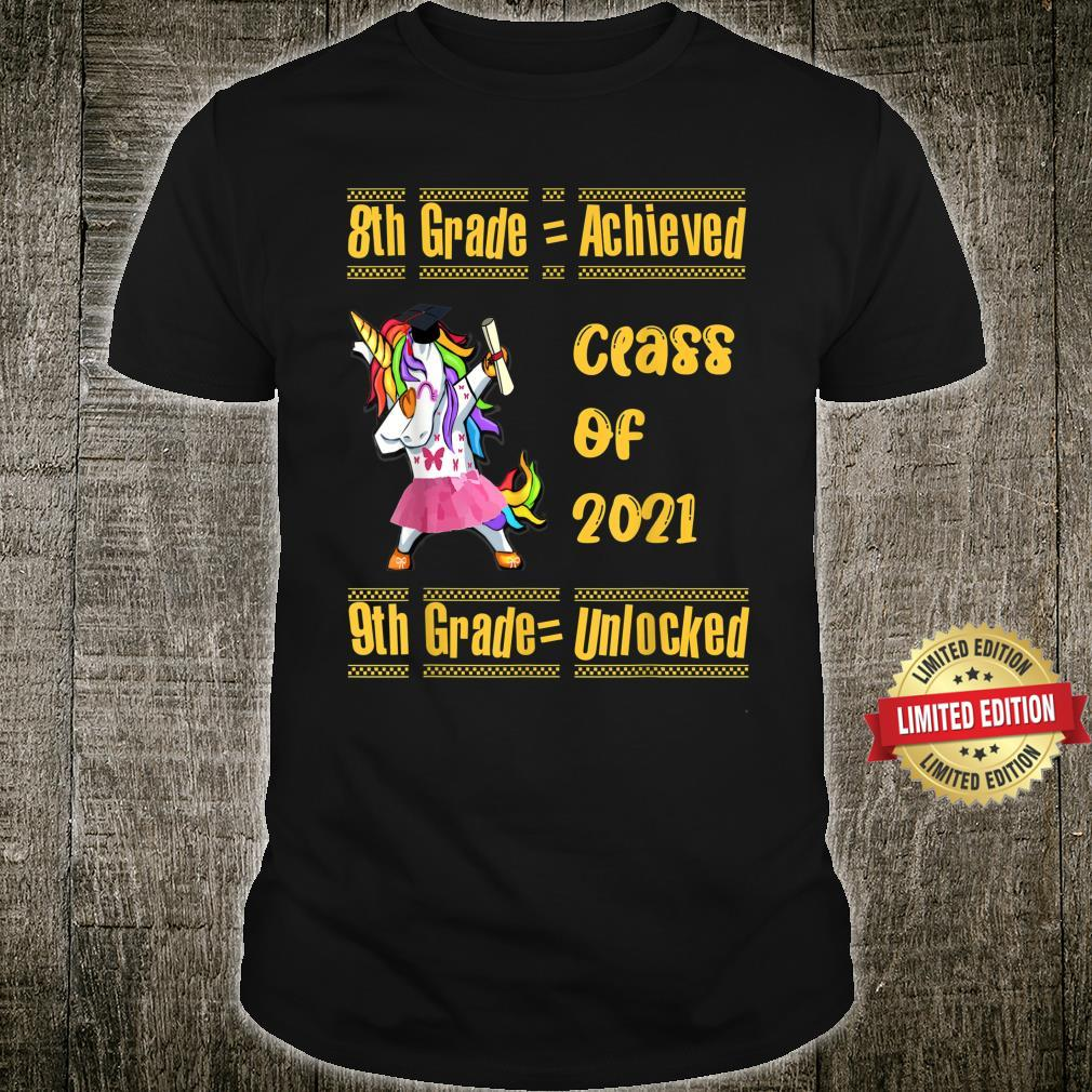 8th Grade 2021 Achieved 9th Grade Unlocked Unicorn Girl Shirt