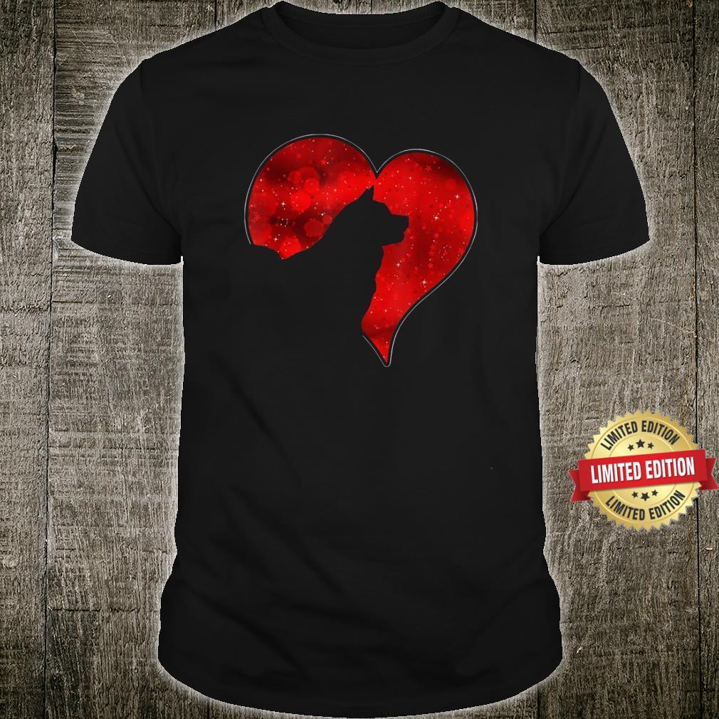 Akita Dog Red Heart Love Shirt