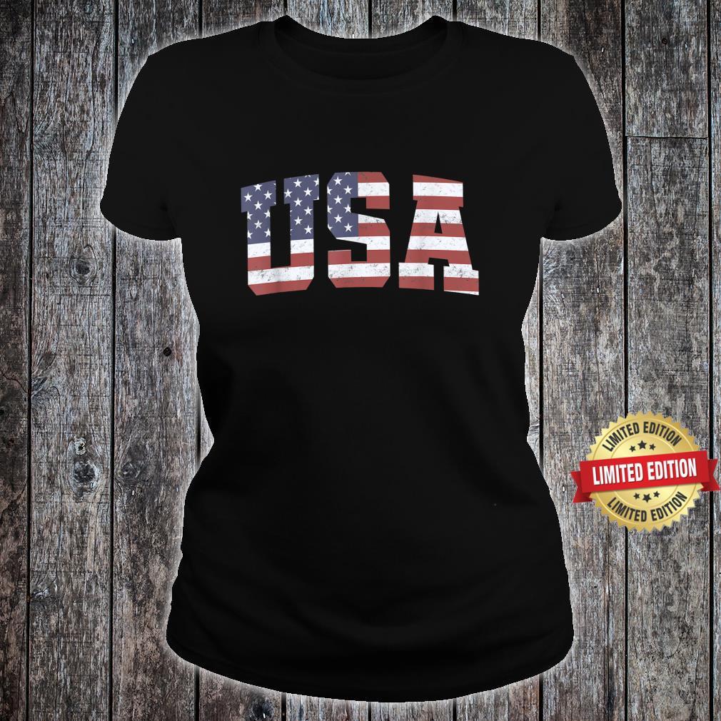 American Flag USA Patriotic 4th Of July Shirt ladies tee