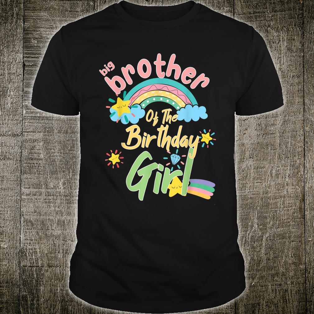 Big Brother Of The Birthday Girl Rainbow Matching Family Shirt