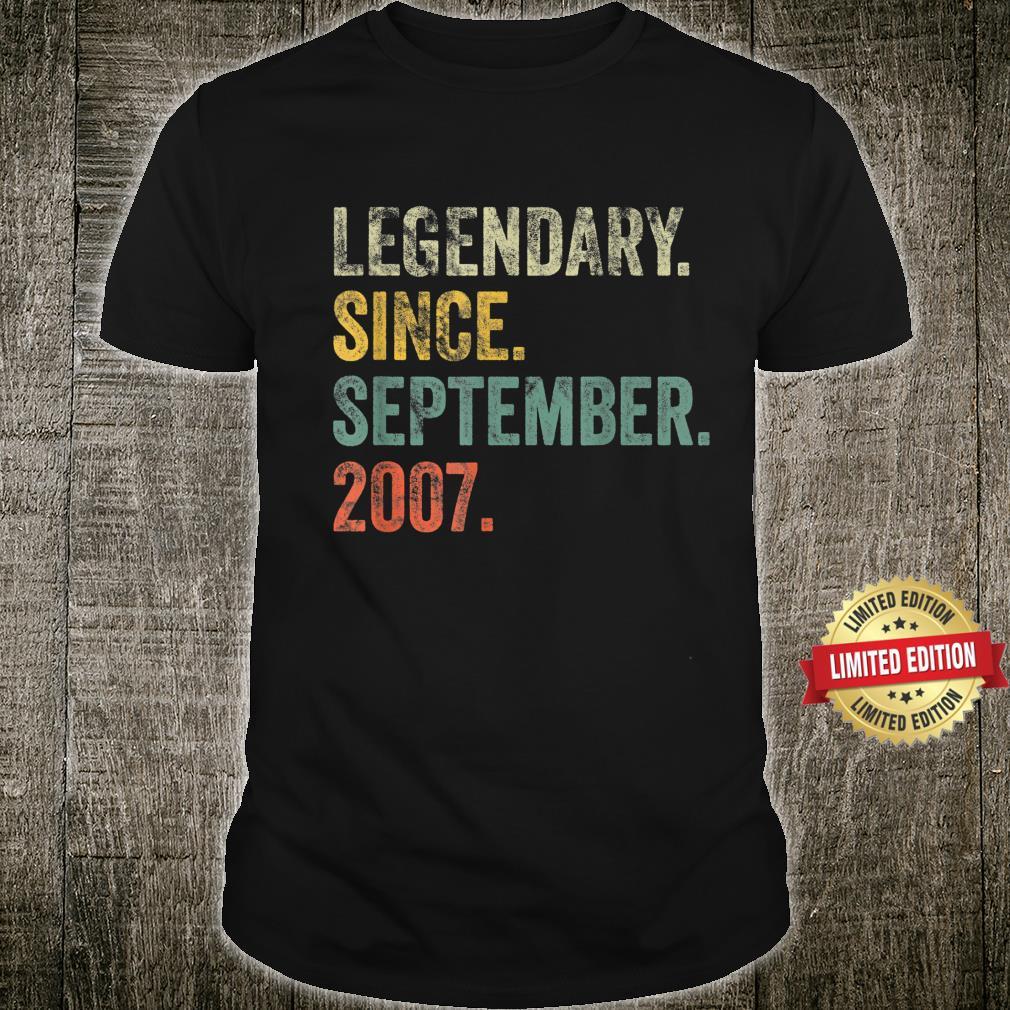 Vintage 2007 14th Birthday Legendary Since September 2007 Shirt