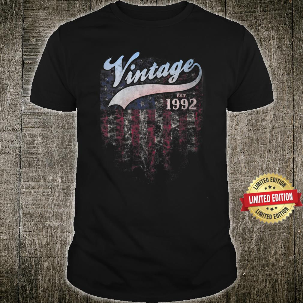 Vintage Made In 1992 American Flag 29th Birthday Shirt