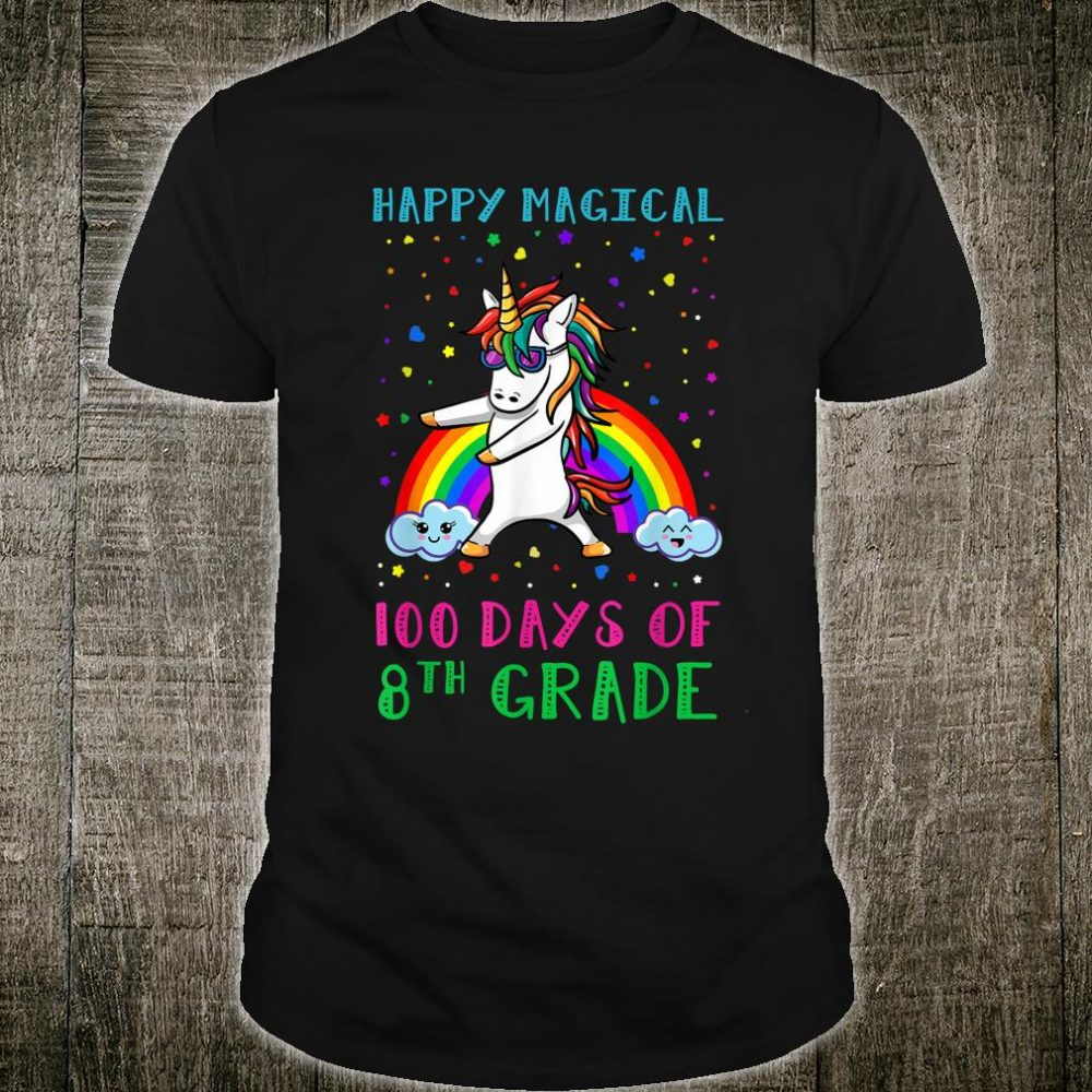 100 Magical Days Of 8Th Grade Unicorn Flossing 100 Days Shirt