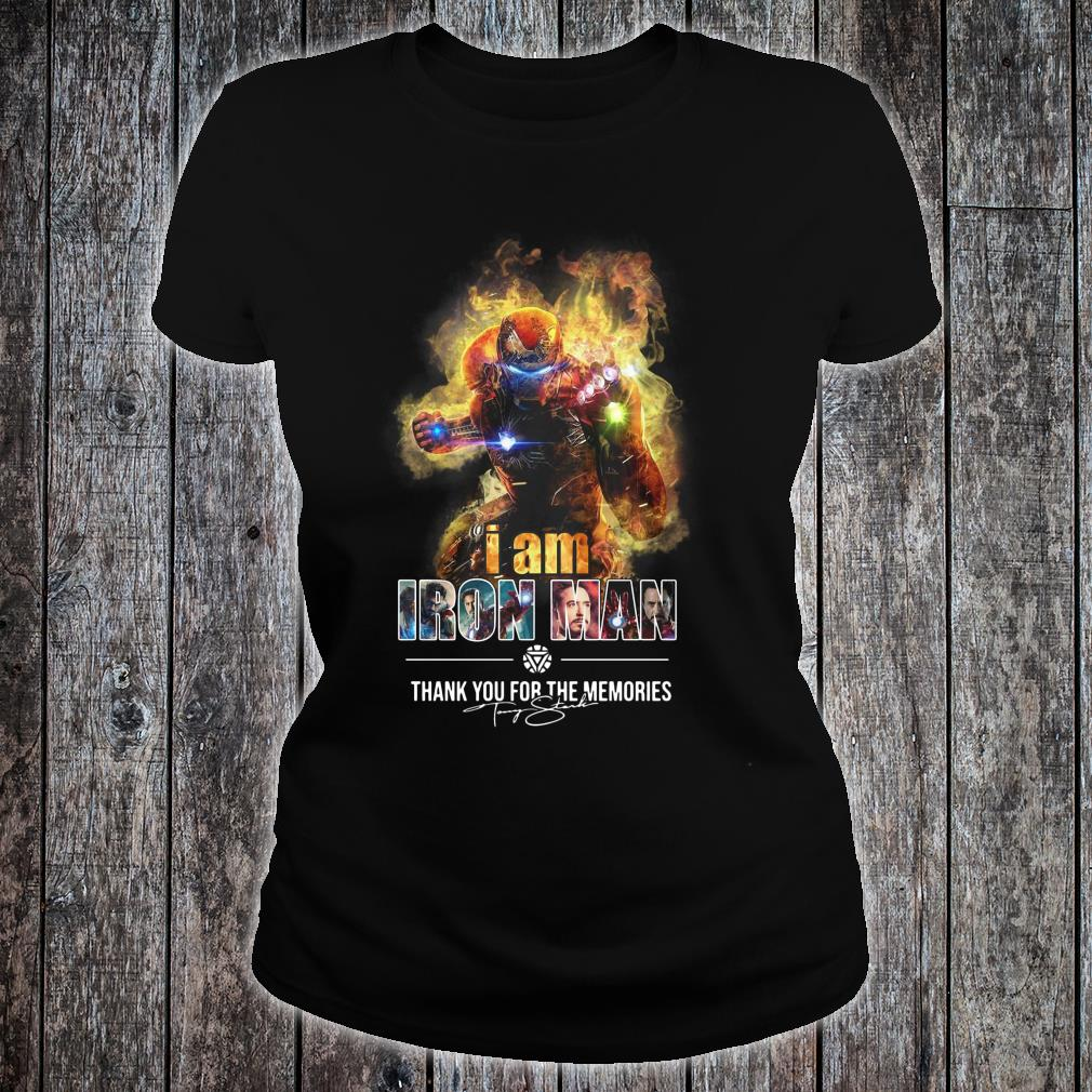 Avengers endgame I am iron man thank you for the memories shirt ladies tee