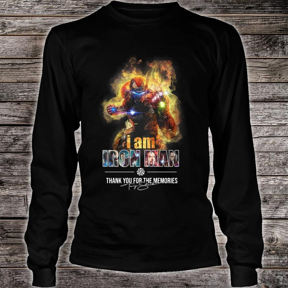 Avengers endgame I am iron man thank you for the memories shirt long sleeved