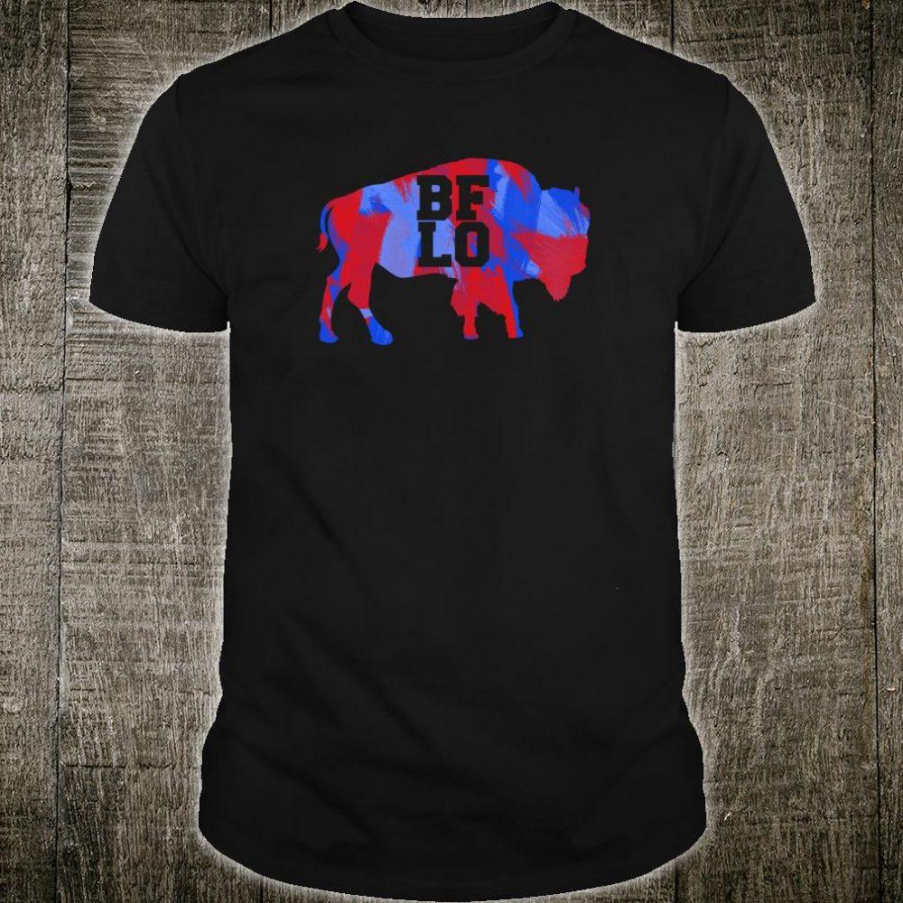 BFLO Buffalo NY Graphic Red And Blue Brush Strokes Shirt