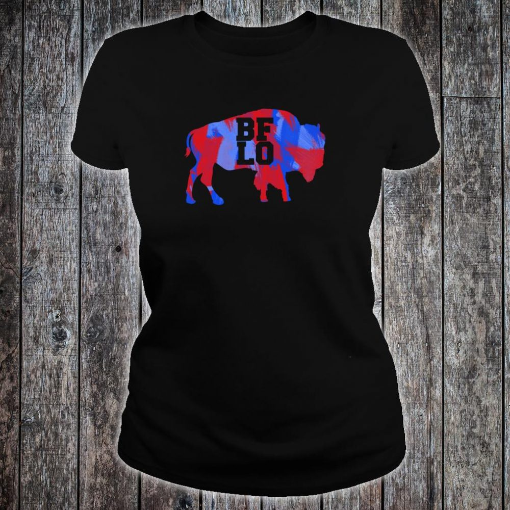 BFLO Buffalo NY Graphic Red And Blue Brush Strokes Shirt ladies tee