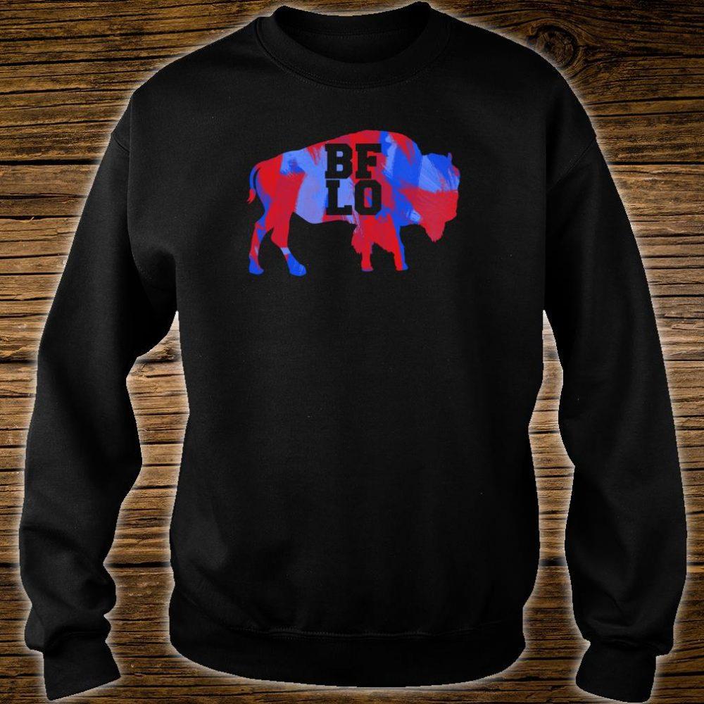 BFLO Buffalo NY Graphic Red And Blue Brush Strokes Shirt sweater