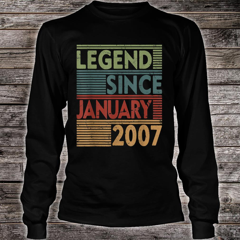Born In January 2007 Legend 13th Birthday Shirt long sleeved