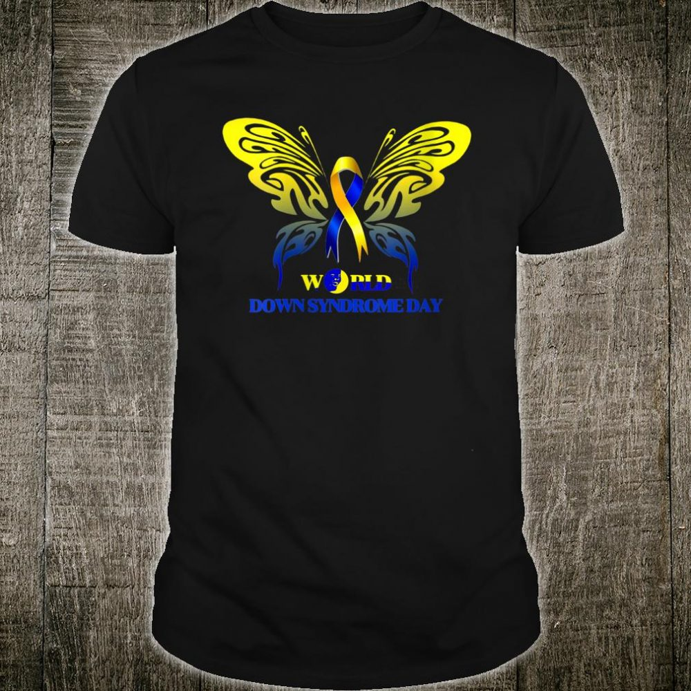 Butterfly Ribbon World Down Syndrome Day Shirt