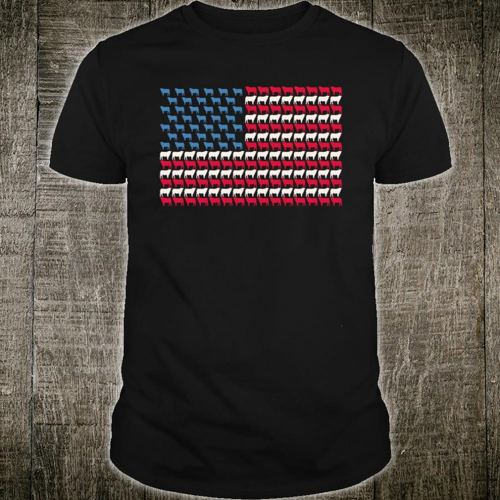 Cattle American Flag Cow US 4th Of July Farmer Bull USA Shirt