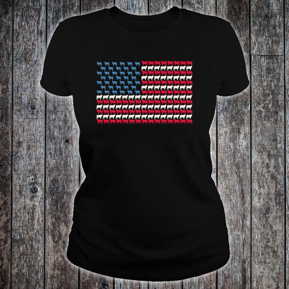 Cattle American Flag Cow US 4th Of July Farmer Bull USA Shirt ladies tee