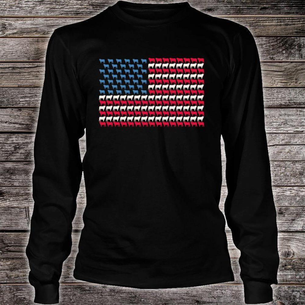 Cattle American Flag Cow US 4th Of July Farmer Bull USA Shirt long sleeved