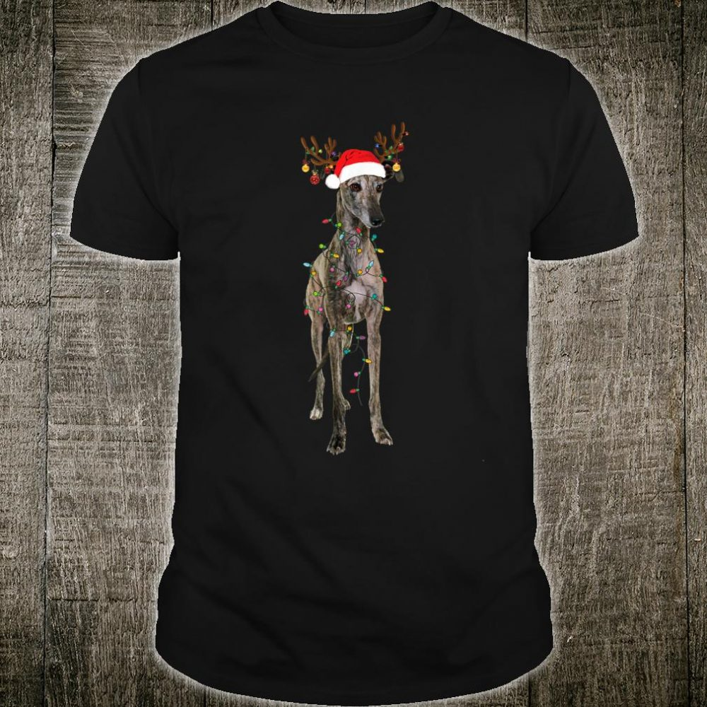 Christmas Greyhound Reindeer Santa Hat Shirt