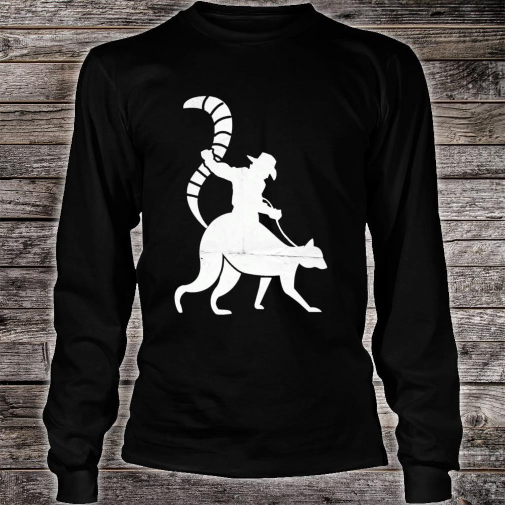Cowboy Riding a Ring Tailed Lemur of Madagascar Shirt long sleeved