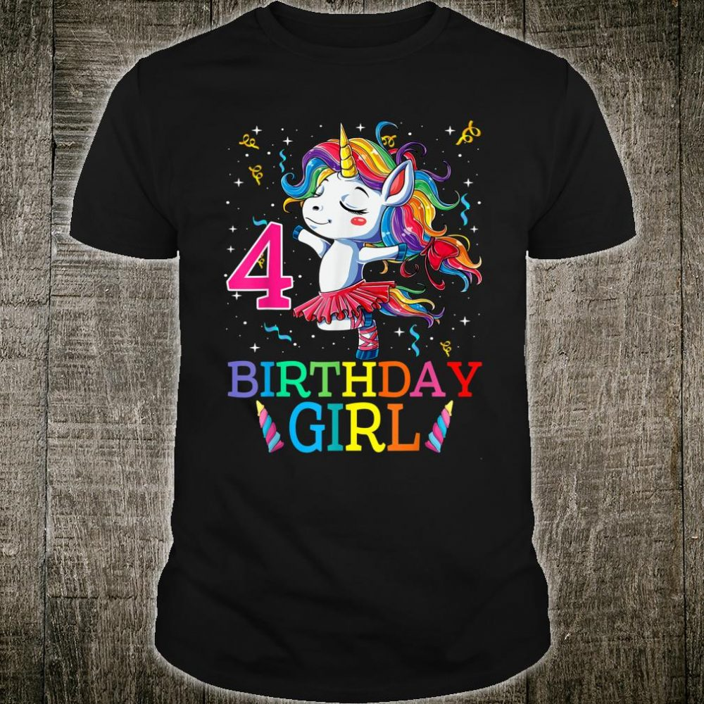 Dabbing Unicorn 4 Year Old 4th Birthday Party Girl Shirt