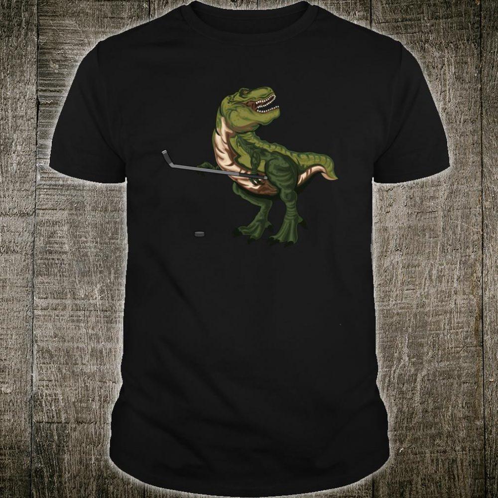 Dinosaur Hockey Stick Puck Christmas TRex Ice Player Shirt