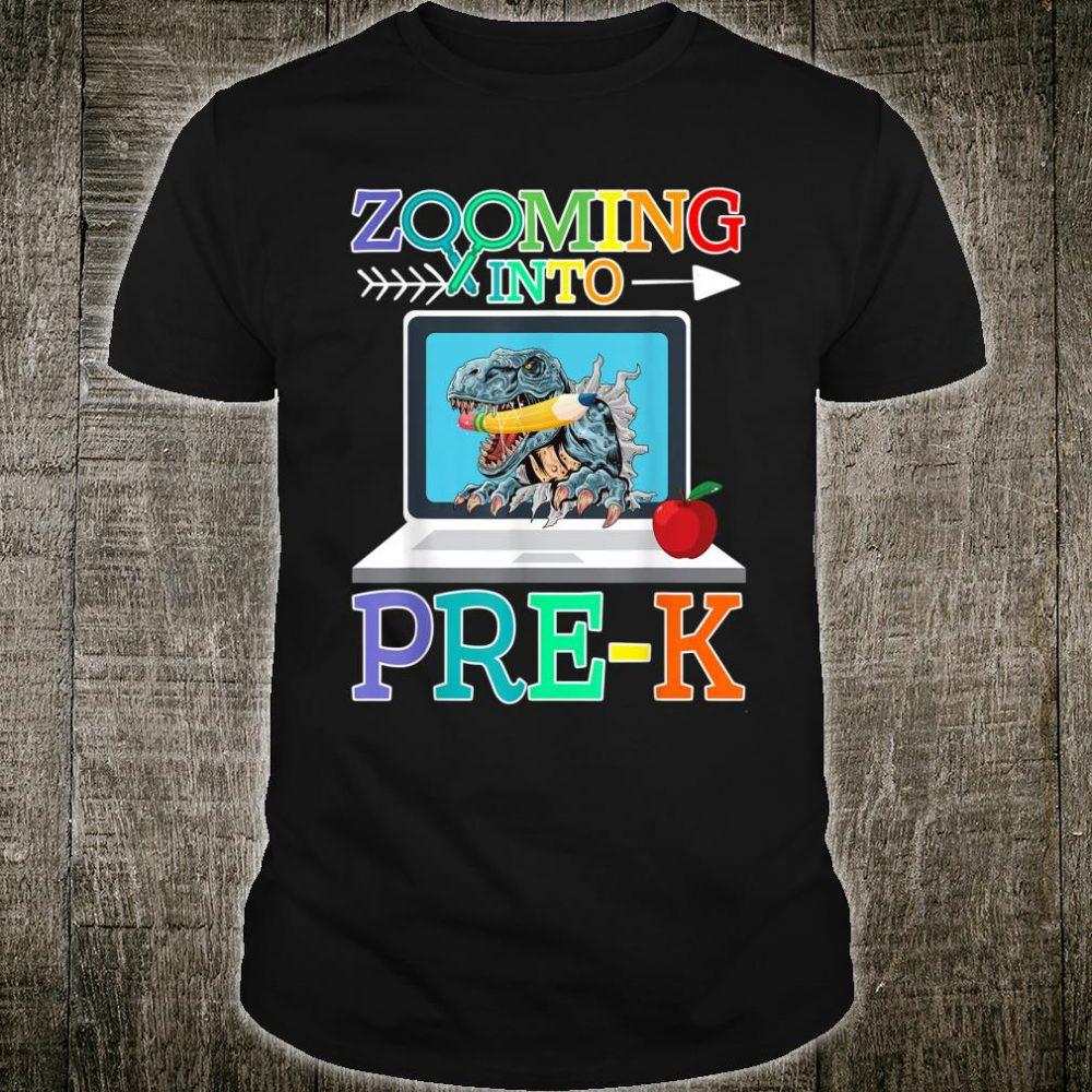 Dinosaur Virtual Back To School Zooming Into Pre-K Shirt