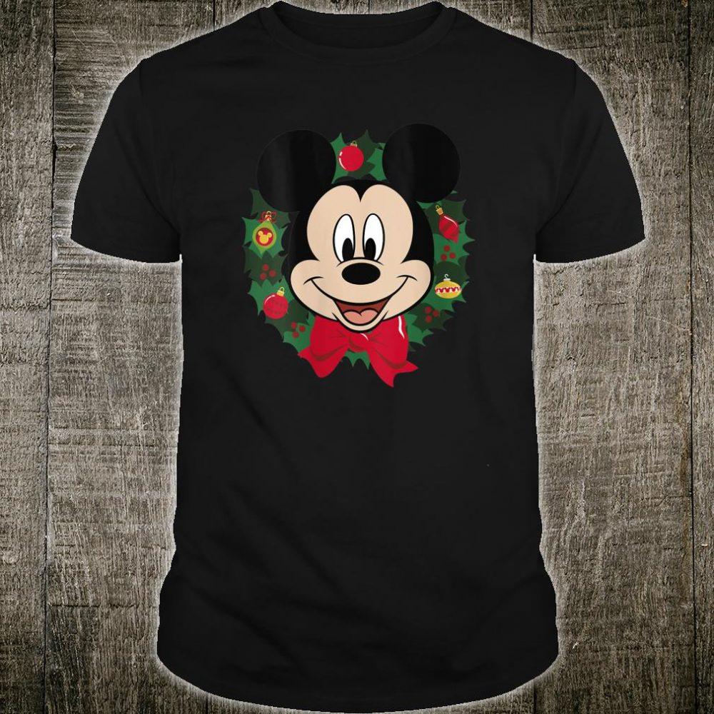 Disney Mickey Mouse Christmas Wreath Portrait Shirt
