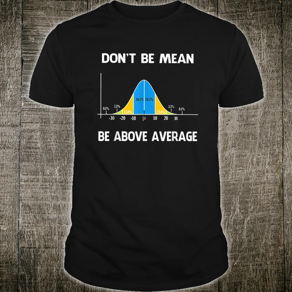 Don't Be Mean Be Above Average Funny Math Lover Shirt