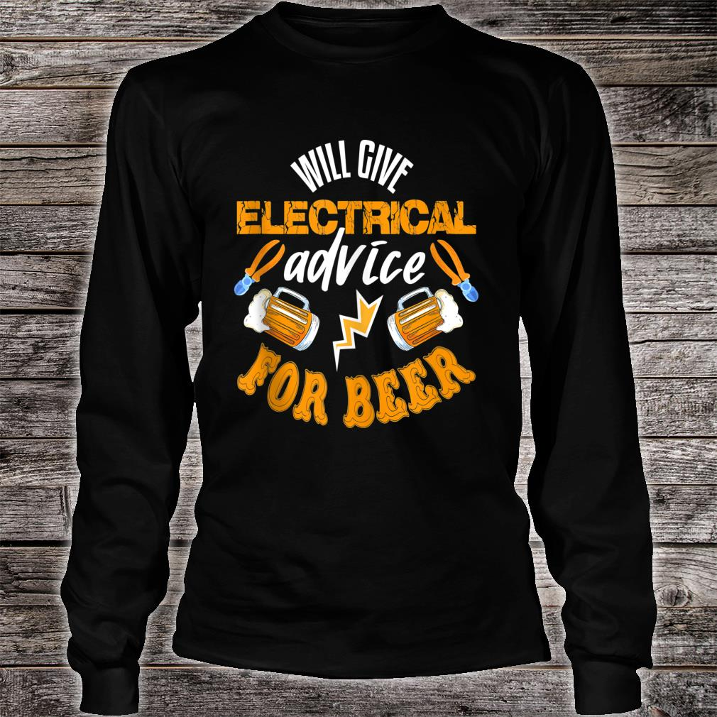 Electrician Shirt Beer Quote Electrician Shirt long sleeved