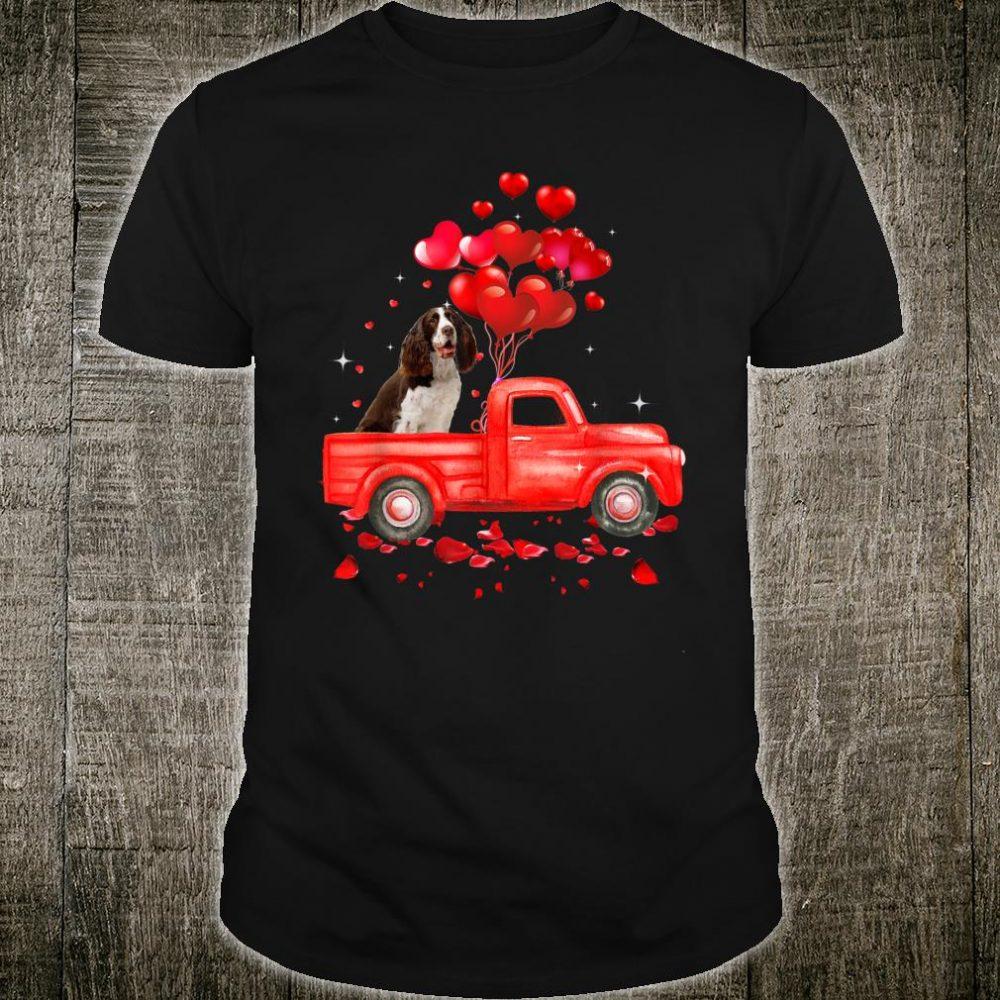 English Springer Spaniel Riding Truck Dog Couple Valentine Shirt