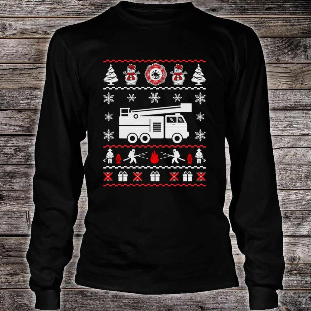 Firefighter Ugly Christmas Sweater shirt long sleeved