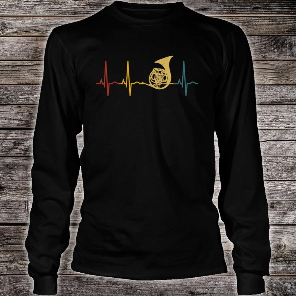 French Horn Lover Heartbeat French Horn Shirt long sleeved