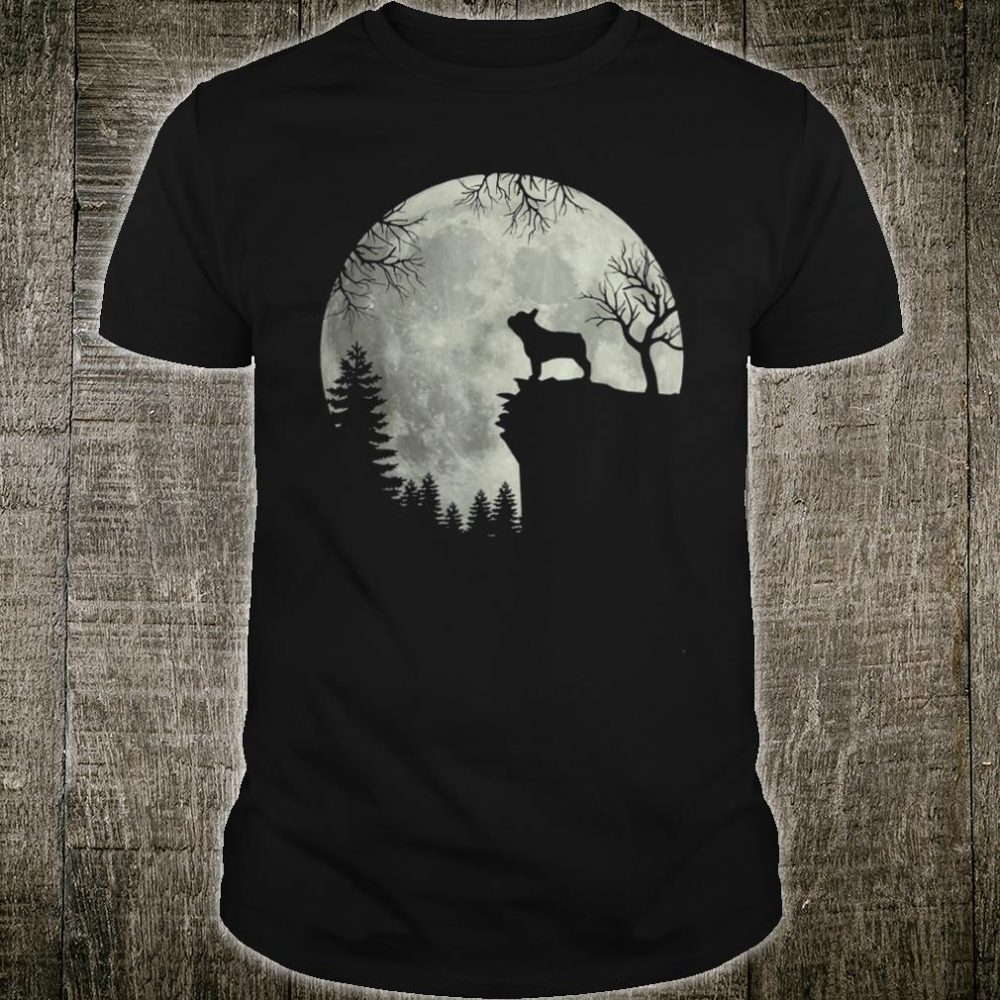 Frenchie dog moon howl in forest Halloween dog Frenchie Shirt