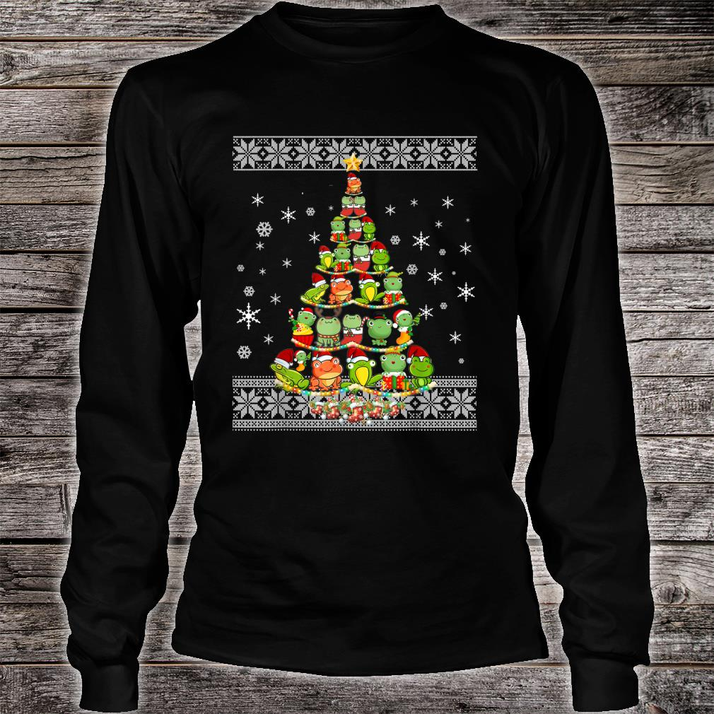 Frog Lovers Ugly Xmas Sweater Christmas Tree Shirt long sleeved