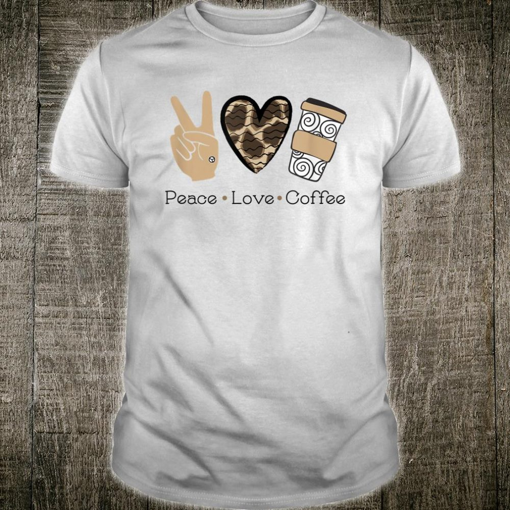 GGT Peace Love Coffee Animal Print Heart Latte Shirt