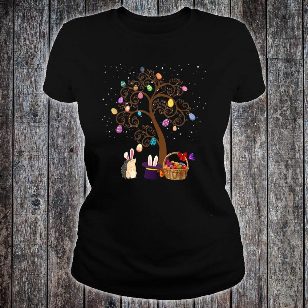 Gedgehog Animal Pet Hunting Egg Tree Bunny Easter Day Star Shirt ladies tee