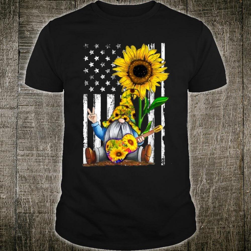 Gnome Sunflower Guitar American Flag Shirt