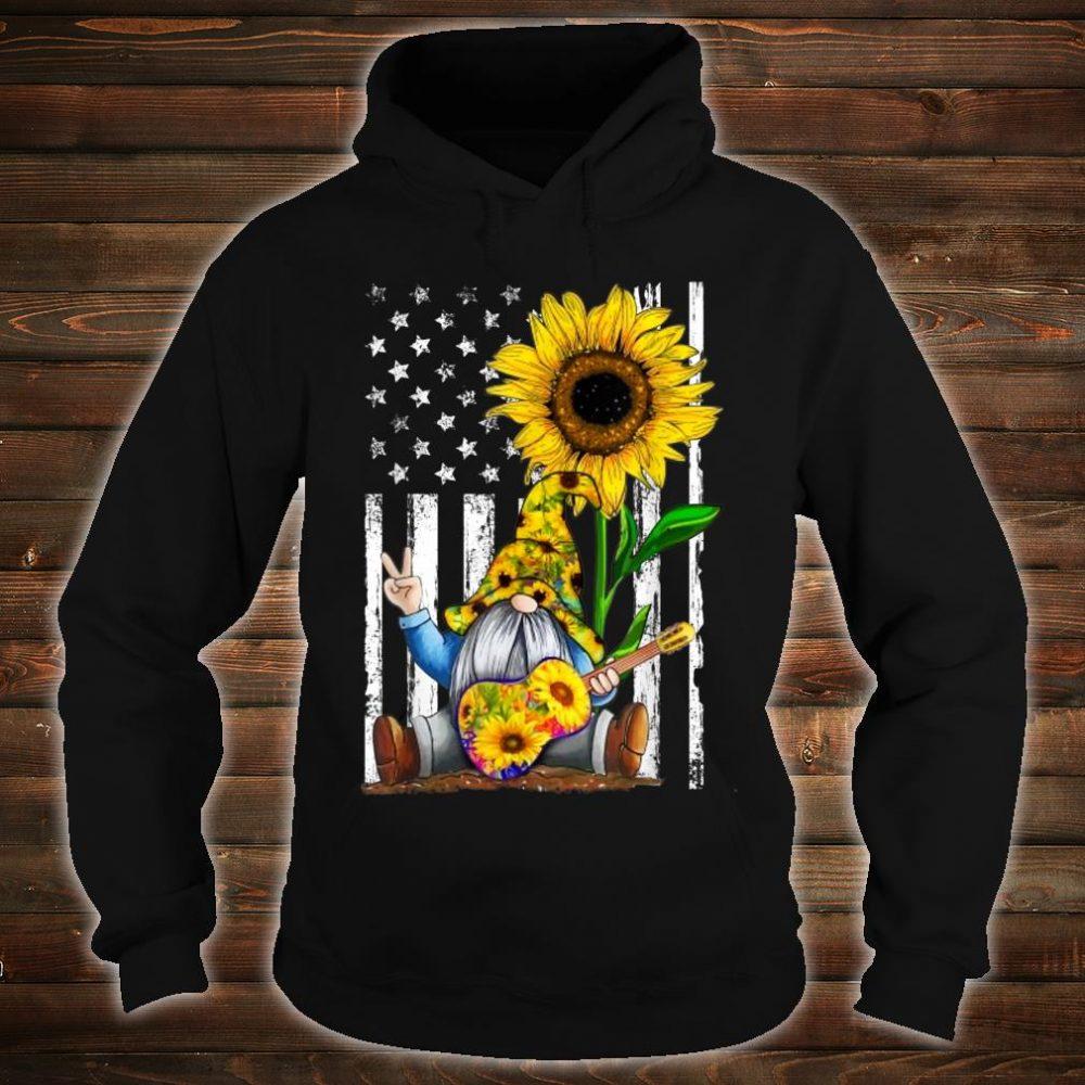 Gnome Sunflower Guitar American Flag Shirt hoodie