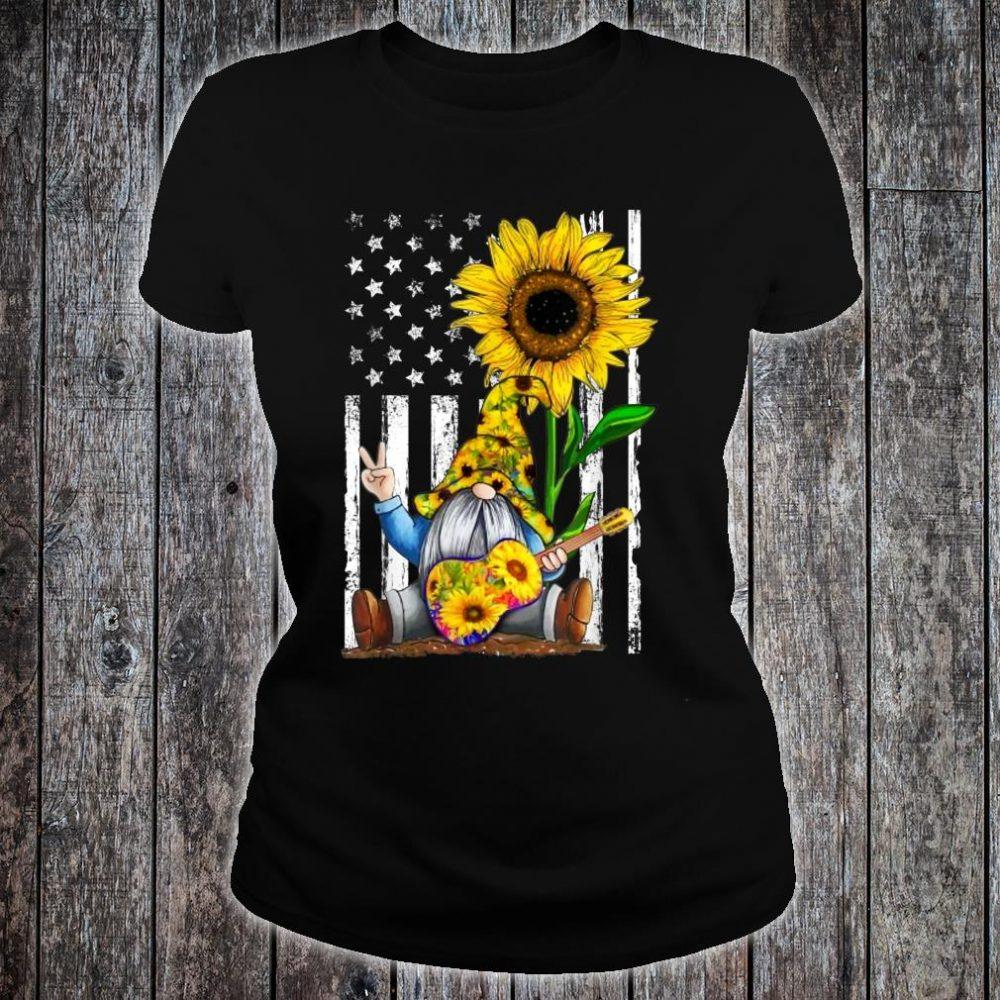 Gnome Sunflower Guitar American Flag Shirt ladies tee