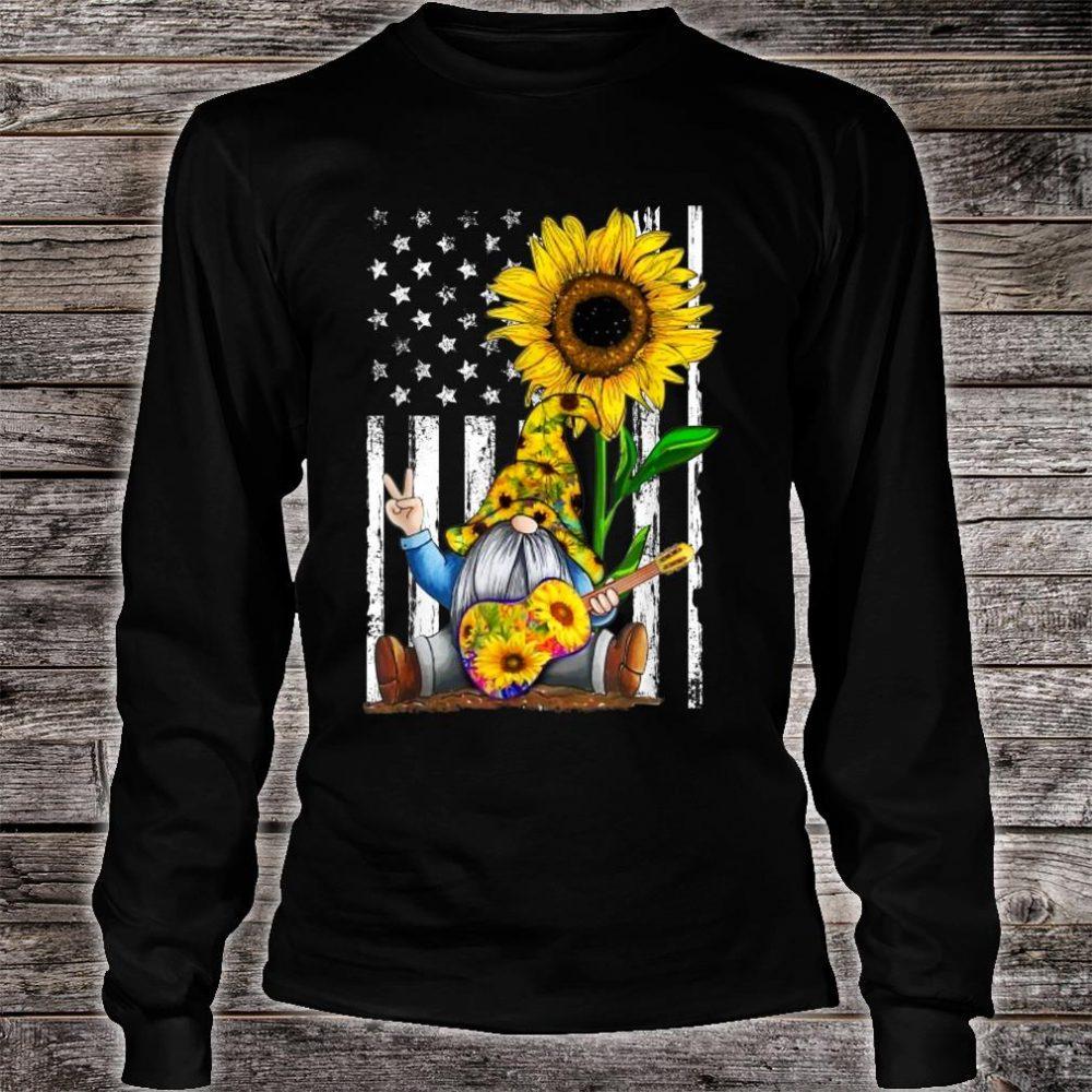 Gnome Sunflower Guitar American Flag Shirt long sleeved