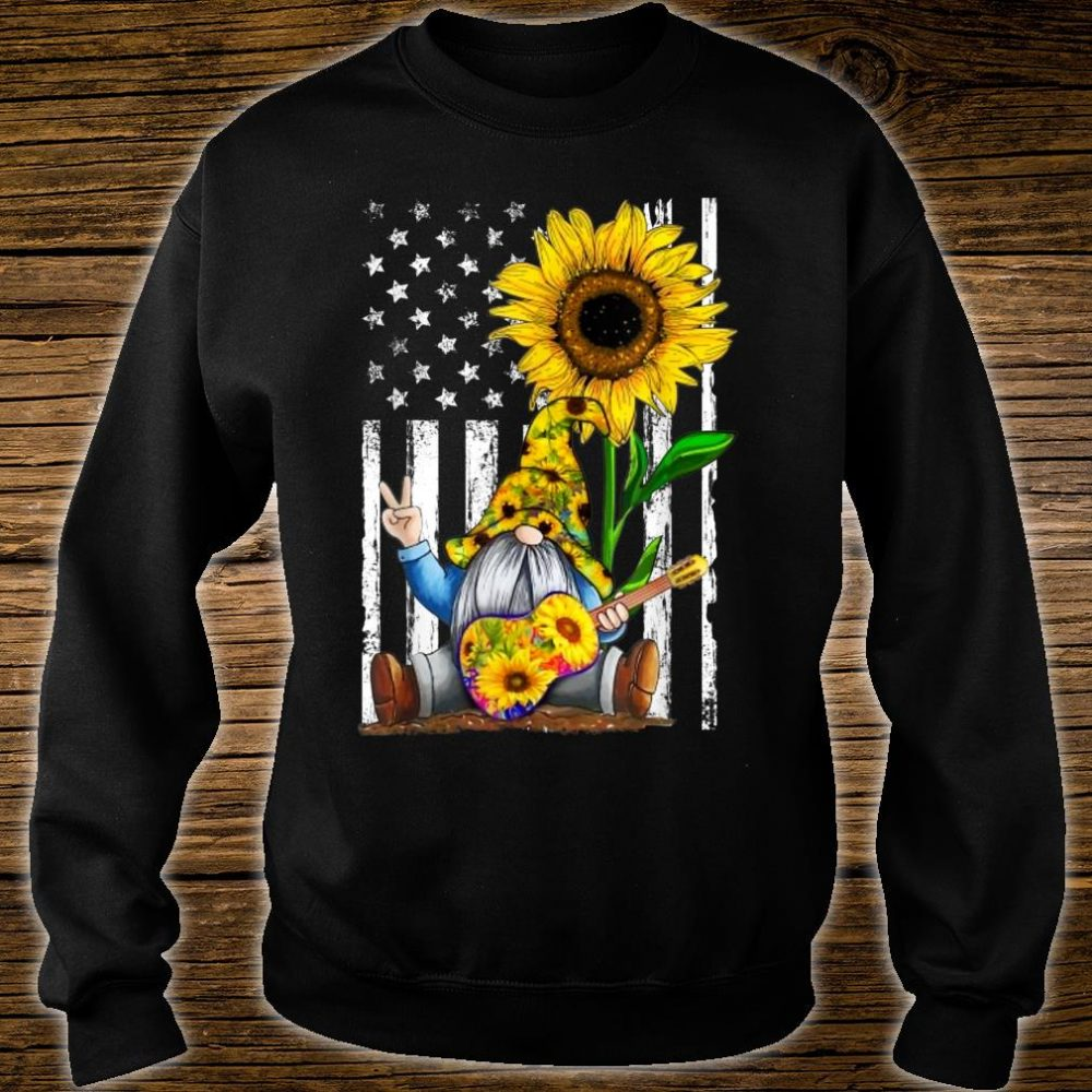 Gnome Sunflower Guitar American Flag Shirt sweater
