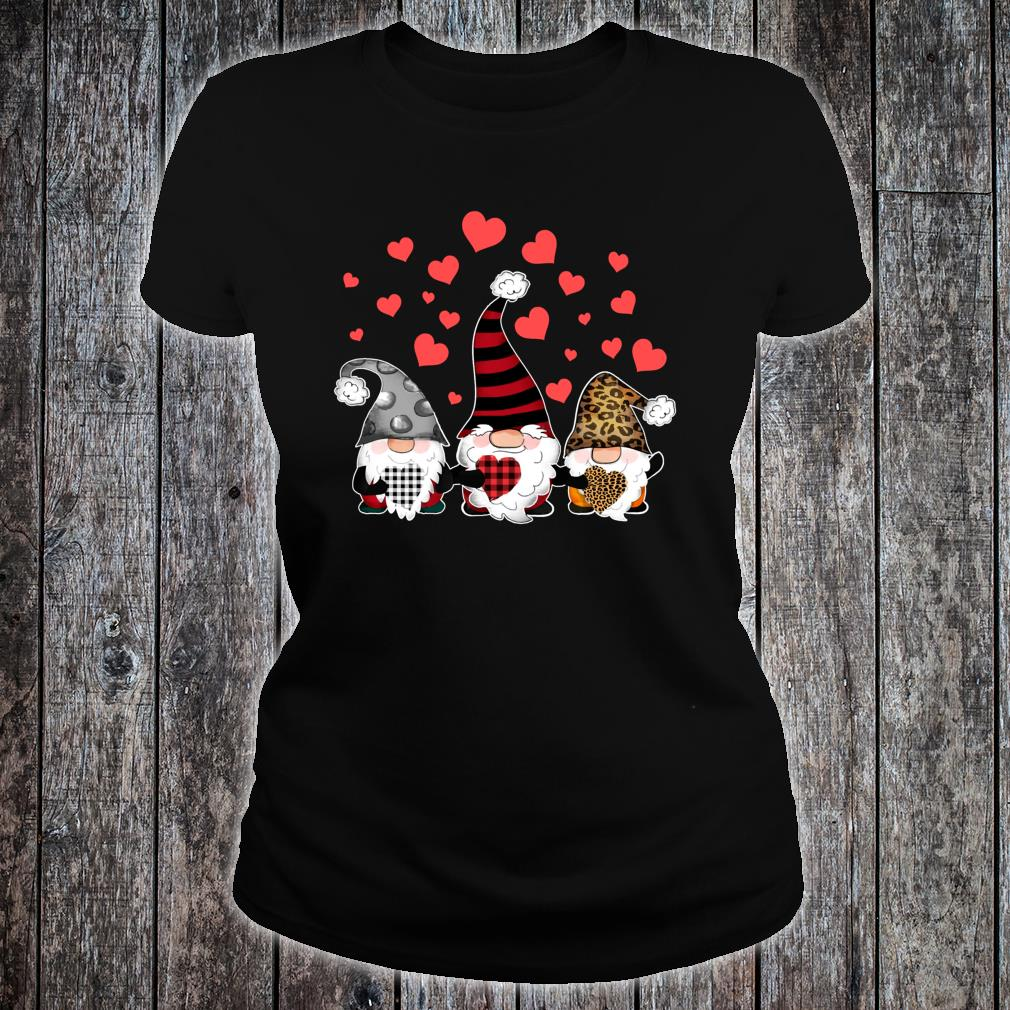 Gnomes Valentines Hearts Leopard Print Buffalo Plaid Shirt ladies tee