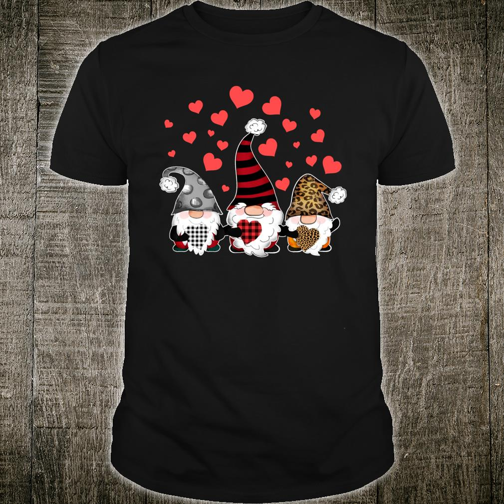 Gnomes Valentines Hearts Leopard Print Buffalo Plaid Shirt