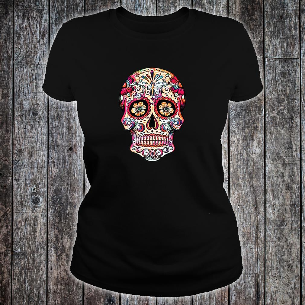 Gorgeous Sugar Skull Picture Colorful Image Day Dead Muertos Shirt ladies tee