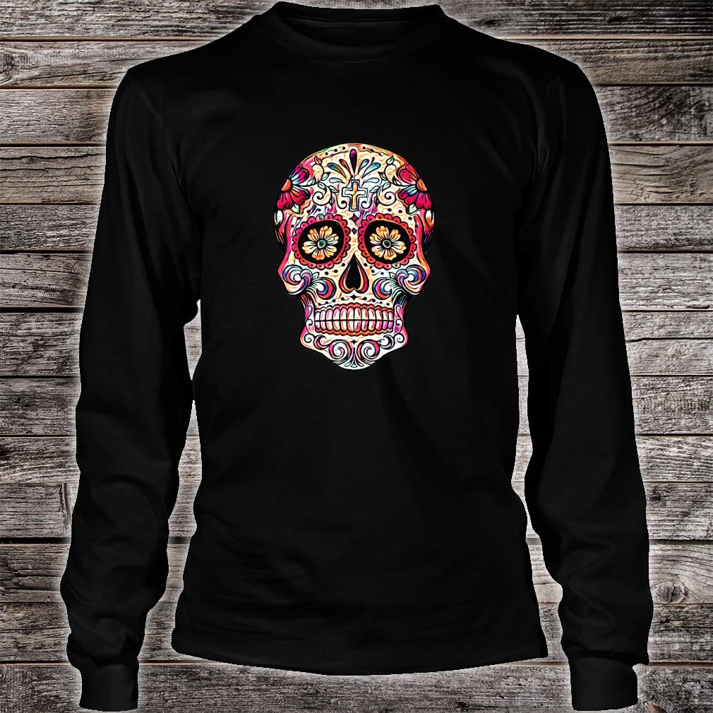 Gorgeous Sugar Skull Picture Colorful Image Day Dead Muertos Shirt long sleeved