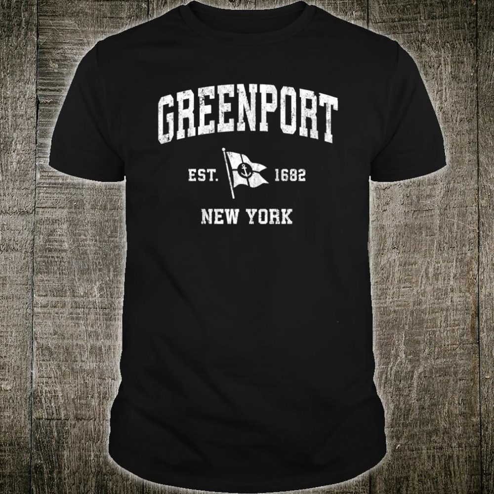 Greenport NY Vintage Nautical Boat Anchor Flag Sports Shirt