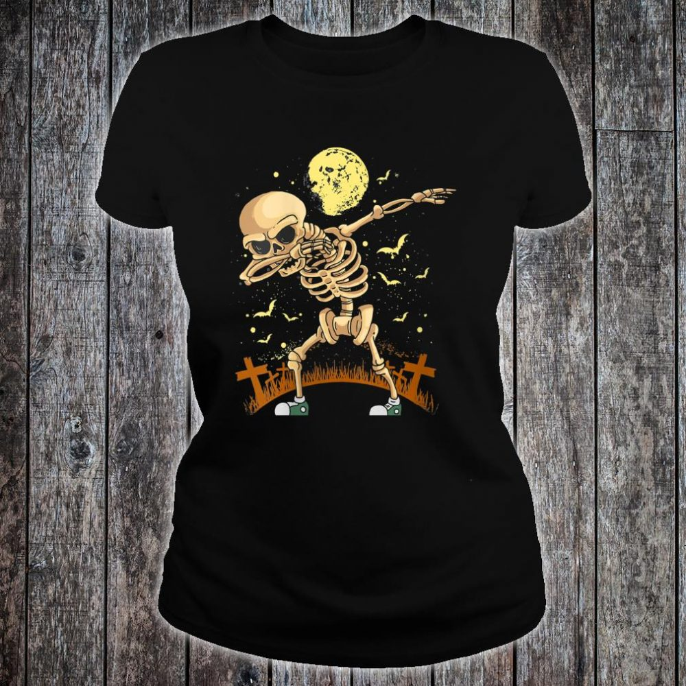 Halloween Dabbing Skeleton Costume Dab Shirt ladies tee