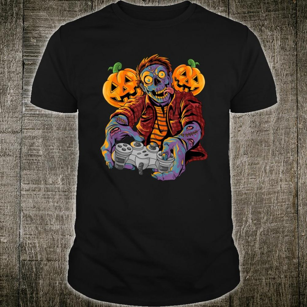 Halloween Zombie Video Gamer Controllers With Pumpkin Shirt