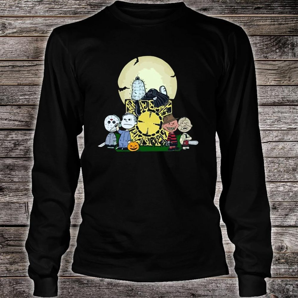 Halloween slash snoopy charlie brown style Horror character shirt long sleeved