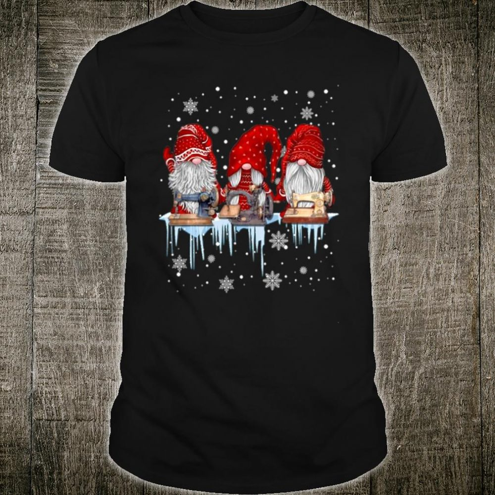 Hanging With Red Gnomies Sewing Gnome Christmas Shirt