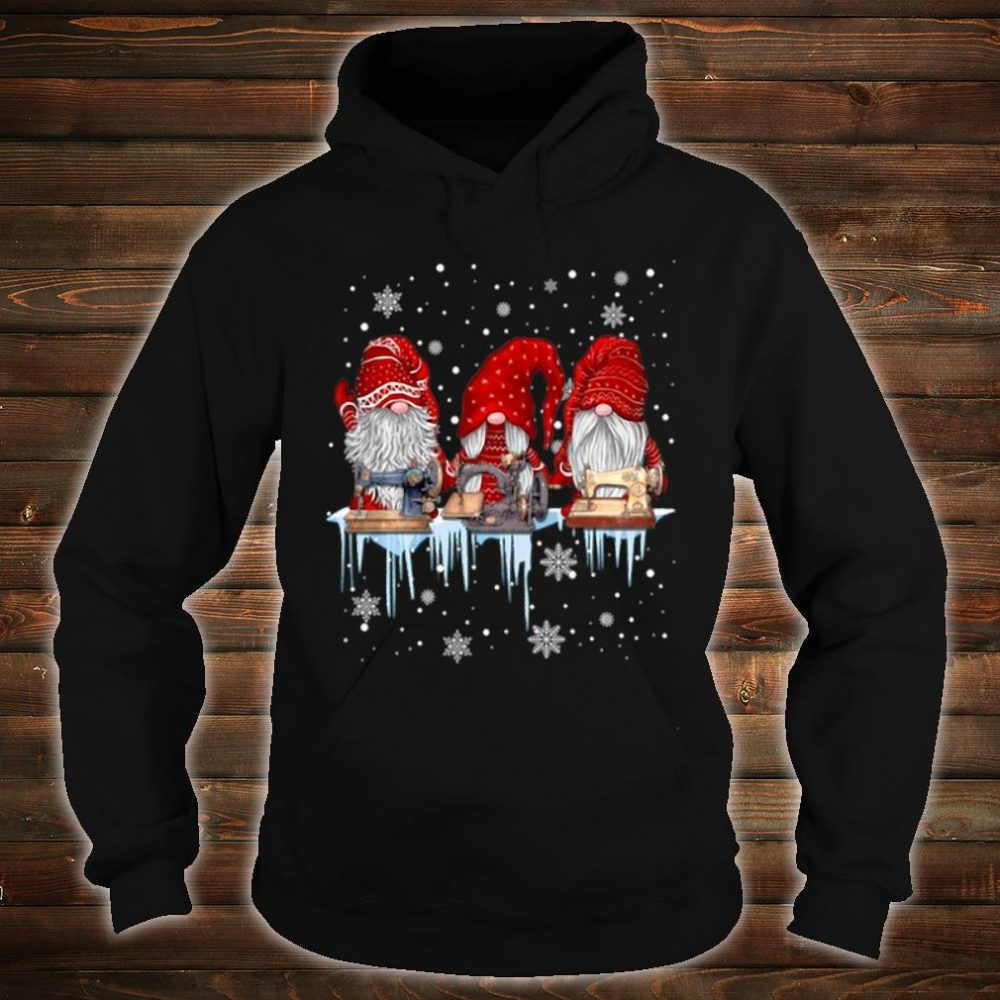 Hanging With Red Gnomies Sewing Gnome Christmas Shirt hoodie