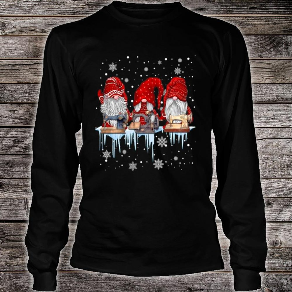 Hanging With Red Gnomies Sewing Gnome Christmas Shirt long sleeved