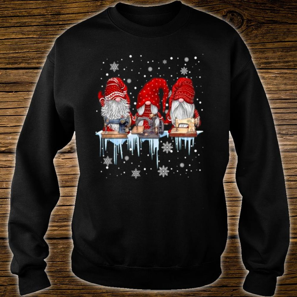 Hanging With Red Gnomies Sewing Gnome Christmas Shirt sweater