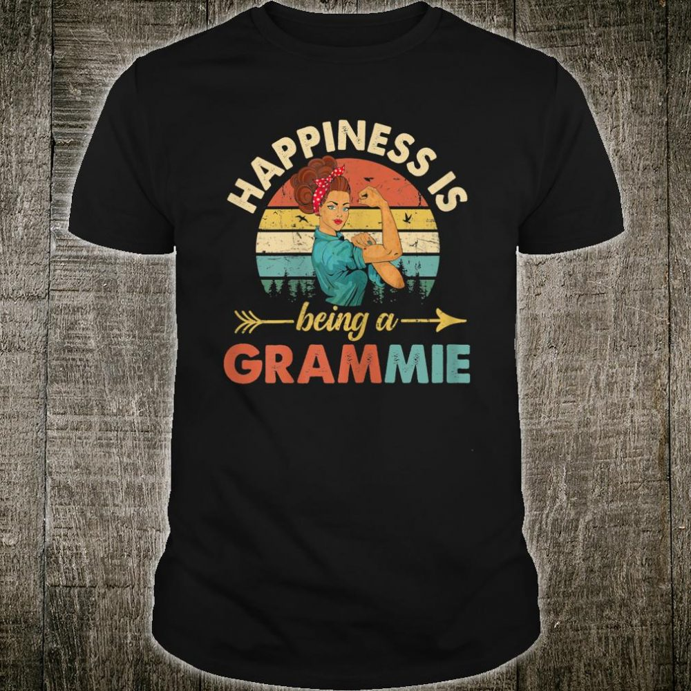 Happines is being a Grammie Floral Grandma Shirt